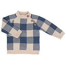 Buy John Lewis Baby Pie Crust Gingham Jumper, Navy/Cream Online at johnlewis.com