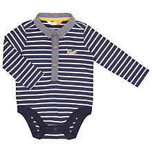 Buy John Lewis Baby Striped Dog And Collar Bodysuit, Navy/White Online at johnlewis.com
