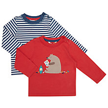 Buy John Lewis Baby Stripe And Bear Jersey T-Shirt, Pack of 2, Multi Online at johnlewis.com