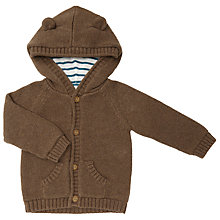 Buy John Lewis Baby Bear Hooded Cardigan, Brown Online at johnlewis.com