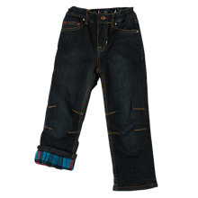 Buy Frugi Organic Boys' Lumberjack Lined Jeans Trousers, Navy/Multi Online at johnlewis.com