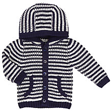 Buy John Lewis Baby Striped Hooded Cardigan, Navy/White Online at johnlewis.com