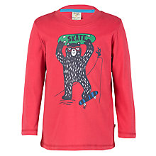 Buy Frugi Organic Boys' Skateboarding Bear Long Sleeve Top, Red/Multi Online at johnlewis.com