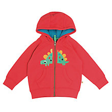 Buy Frugi Organic Baby Dino Hoodie, Red Online at johnlewis.com