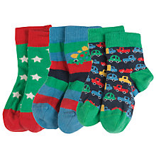 Buy Frugi Organic Baby Car And Dino Socks, Pack of 3, Multi Online at johnlewis.com