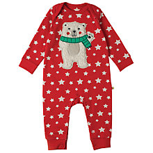 Buy Frugi Organic Baby Charlie Polar Bear Romper, Tomato Red Online at johnlewis.com