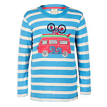 Buy Frugi Organic Boy's Campervan Applique Top, Blue Online at johnlewis.com