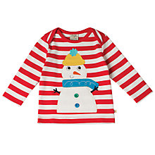 Buy Frugi Organic Baby Bobby Snowman Applique Top, Multi Online at johnlewis.com