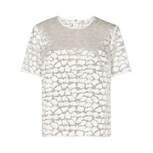 Buy Reiss Ora Short Sleeve Evening Top, Off White Online at johnlewis.com