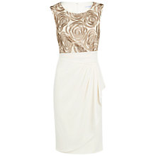 Buy Gina Bacconi Rose Embroidery And Moss Crepe Dress, Pink/Gold Online at johnlewis.com