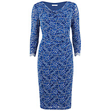 Buy Gina Bacconi Three-Quarter Sleeve Cowl Neck Lace Dress, Royal Online at johnlewis.com