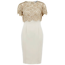 Buy Gina Bacconi Metallic Guipure Overtop And Crepe Dress, Beige Online at johnlewis.com