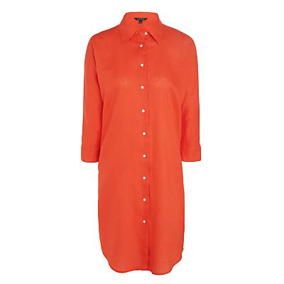 Lauren Ralph Lauren Aeryn Linen Shirt Dress, Bright Poppy