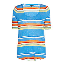 Buy Lauren Ralph Lauren Devanika Stripe Linen T-Shirt, Multi Online at johnlewis.com