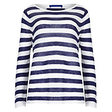 Buy Winser London Audrey Stripe Linen Jumper, Midnight/White Online at johnlewis.com