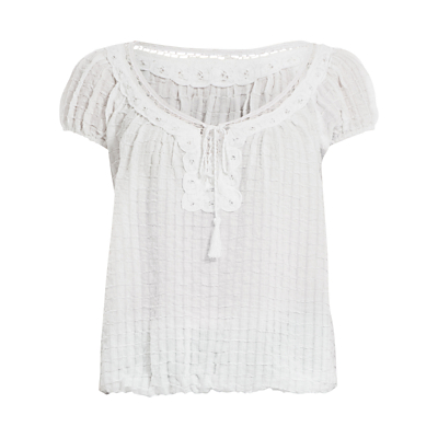 Max Studio Cap Sleeve Textured Top, White