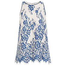 Buy Max Studio Bicolour Lace Detail Top, Blue/Cream Online at johnlewis.com