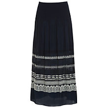 Buy Max Studio Smocked Jacquard Maxi Skirt, Navy/Ivory Online at johnlewis.com