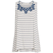 Buy Max Studio Embroidered Stripe Jersey Top, White/Blue Online at johnlewis.com
