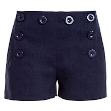 Buy Max Studio Stretch Linen Shorts, Navy Online at johnlewis.com