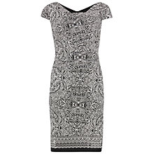 Buy Gina Bacconi Aztec Border Print Stretch Jersey Dress, Black/White Online at johnlewis.com