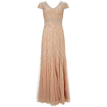 Buy Adrianna Papell Cap Sleeve Beaded Gown With Godets, Blush Online at johnlewis.com