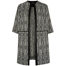 Buy Jaeger Aztec Jacquard Coat, Black/Cream Online at johnlewis.com