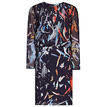 Buy Reiss Printed Dress, Indigo/Multi Online at johnlewis.com