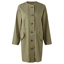 Buy Jigsaw Washed Drill Drawstring Parka, Khaki Online at johnlewis.com