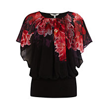 Buy Coast Peony Print Calla Top, Black/Red Online at johnlewis.com