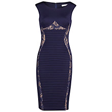 Buy Gina Bacconi Scuba And Lace Pintuck Dress, Navy Online at johnlewis.com
