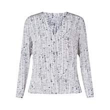 Buy Jigsaw Wave Spot Open Neck Blouse, Navy Online at johnlewis.com