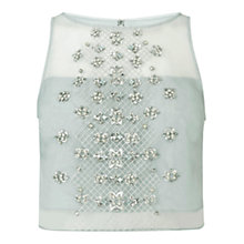 Buy Coast Ada Embellished Top, Pale Blue Online at johnlewis.com