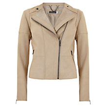 Buy Mint Velvet Leather Biker Jacket, Neutral Online at johnlewis.com