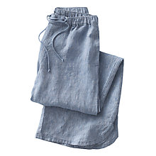 Buy Poetry Wide-Leg Striped Linen Trousers, Soft Denim Online at johnlewis.com