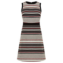 Buy Warehouse Stripe Tweed A-Line Dress, Grey/Red Online at johnlewis.com