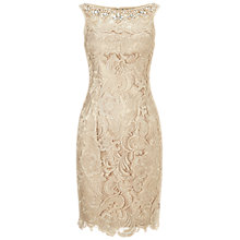 Buy Adrianna Papell Jewellery Neckline Lace Shift Dress, Champagne Online at johnlewis.com