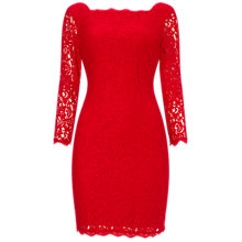 Buy Adrianna papell Three-Quarter Sleeve Lace Cocktail Dress, Red Online at johnlewis.com