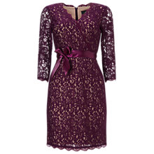 Buy Adrianna Papell Long Sleeve Wrap Front Lace Cocktail Dress, Mulberry/Nude Online at johnlewis.com