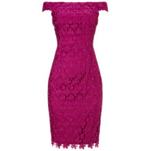 Buy Adrianna Papell Off Shoulder Lace Shift Dress, Crushed Berry Online at johnlewis.com