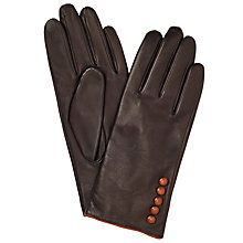 Buy John Lewis Fleece Lined 5 Button Leather Gloves Online at johnlewis.com