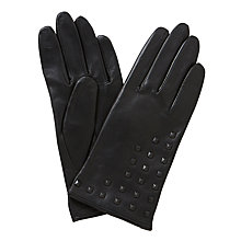 Buy John Lewis Cashmere Lined Studded Leather Gloves, Black Online at johnlewis.com