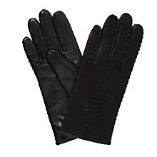 Buy John Lewis Cashmere Lined Python Gloves, Black Online at johnlewis.com