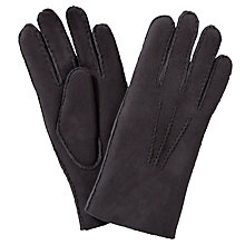 Buy John Lewis Fleece Lined Lambskin Leather Gloves, Purple Online at johnlewis.com