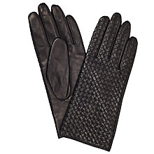 Buy John Lewis Cashmere Lined Plaited Gloves, Black Online at johnlewis.com