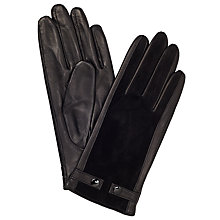 Buy John Lewis Double Stud Leather and Suede Gloves, Black Online at johnlewis.com