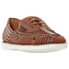 Buy Bertie Bric White Sole Woven Leather Lace-Up Shoe, Tan Online at johnlewis.com