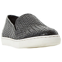Buy Bertie Banjo Woven Leather Slip-On Trainers, Black Online at johnlewis.com