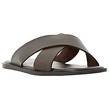Buy Dune Lago Cross Strap Leather Sandals, Brown Online at johnlewis.com