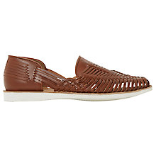 Buy Bertie Broc White Sole Woven Leather Slip-On Shoe, Tan Online at johnlewis.com